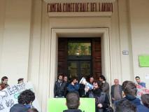 (Vertenza Coopservice - protesta alla Cgil - foto Zic)