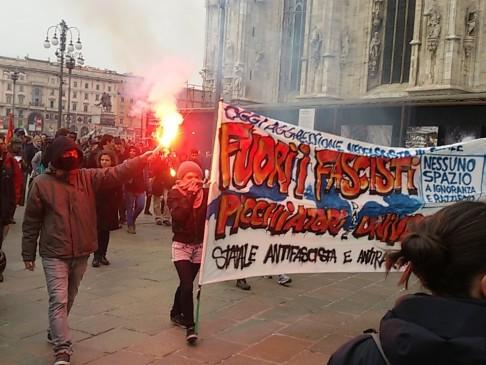 Corteo antifascista Milano (foto da twitter @cantiere)