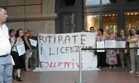 Protesta al MamBo (foto da twitter @BolognaFiere123)