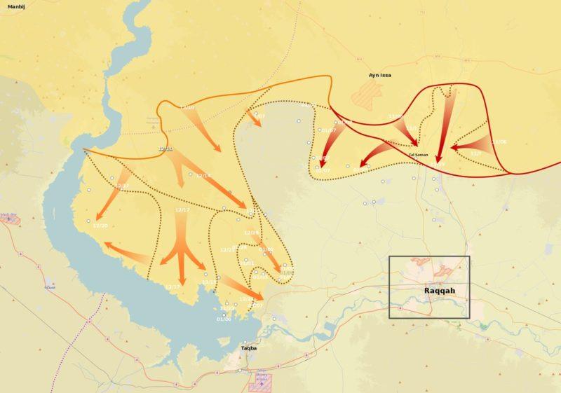 Offensiva Sdf verso Raqqa al 7 gennaio 2016 (immagine MrPenguin20/Wikimedia Commons)