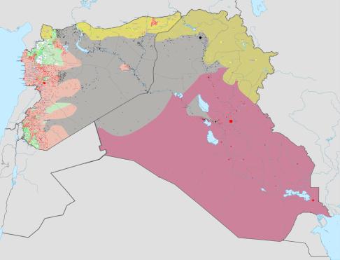 Situazione delle guerra in Siria e Iraq al 26 luglio 2015 (da Wikimedia Commons)