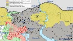 Mappa della guerra civile siriana al 9 agosto 2016 - dettaglio (Immagine Ermanarich/Wikimedia Commons)