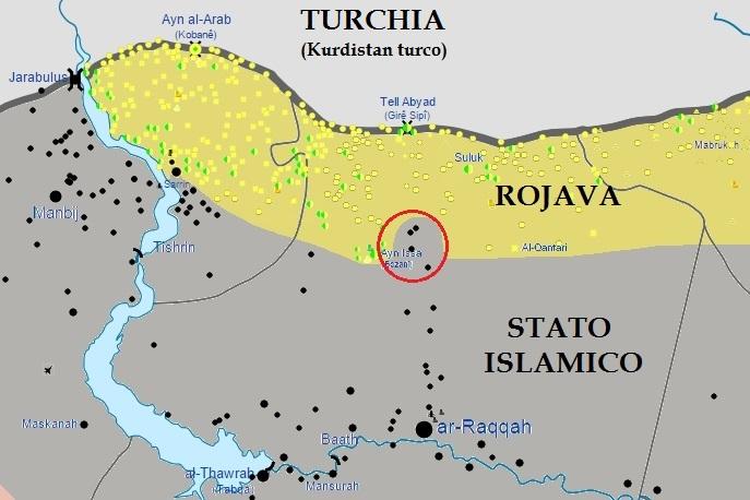 Avanzata curda verso Raqqa, fine giugno 2015 (mappa da Wikimedia Commons, di Splesh531)