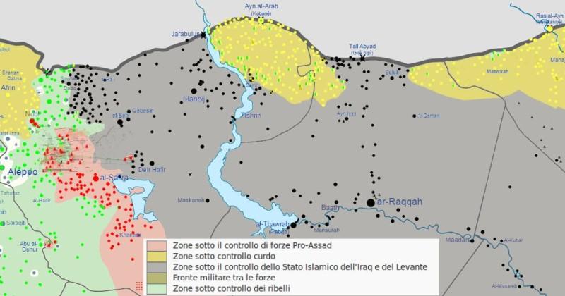 Situazione  nel Rojava centrale a inizio giugno 2015 (mappa da  Wikimedia Commons, di Splesh531)