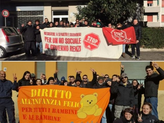 Picchetti antisfratto (foto fb Social Log)
