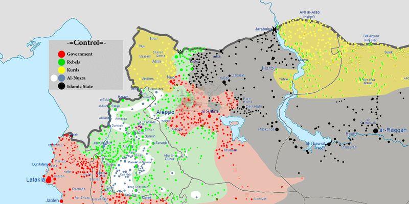 Siria nord-occidentale, situazione al 13 febbraio 2016