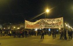 Manifestazione in solidarietà agli arrestati dei primi giorni di scontri ad Atene