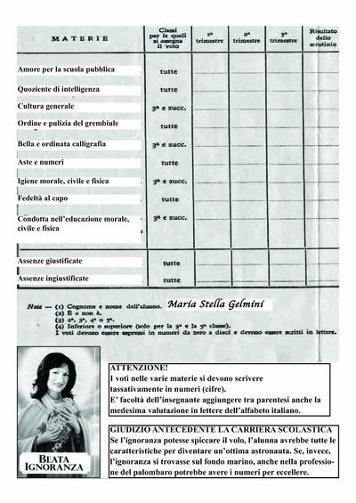 Pagella Gelmini - lato b
