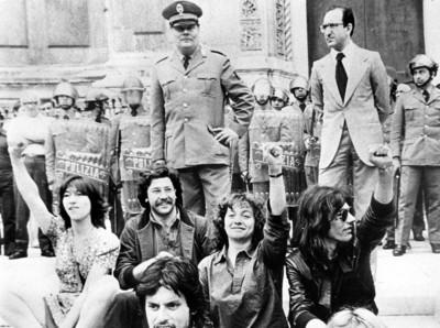 Francesco Lorusso in una manifestazione dei giorni precedenti alla sua uccisione